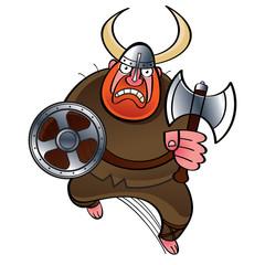 Viking – ancient warrior in horned helmet with battle axe