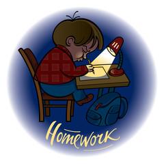 Homework – little schoolboy doing his task