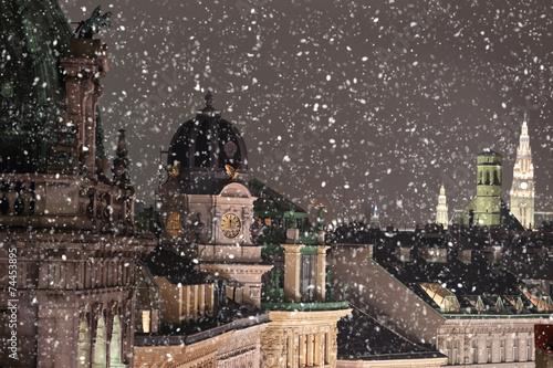 Foto op Canvas Wenen Vienna rooftops cityscape with snow