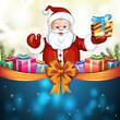 Cute cartoon of a Santa Claus holding a gift box