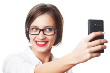 Business woman taking selfie