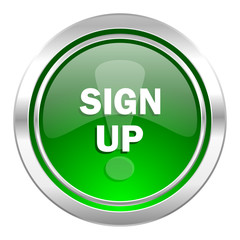 sign up icon, green button