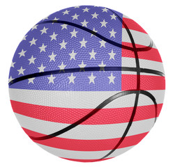 Basketball ball with flag of USA
