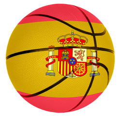 Basketball ball with flag of Spain