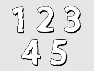 12345 set of numbers with a bloated design