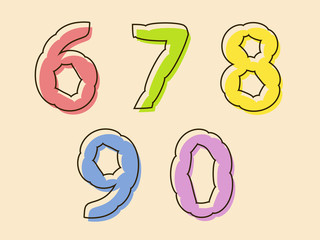 Colorful set of digits 67890 with a bloated shape