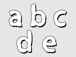 ABCDE lowercase bloated white alphabet letters