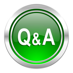 question answer icon, green button