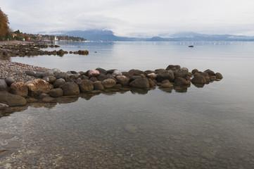 Lake Garda coastline during winter