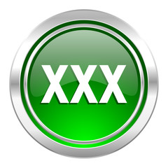 xxx icon, green button, porn sign