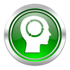 head icon, green button, human head sign