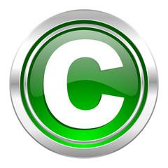 copyright icon, green button