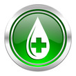 blood icon, green button