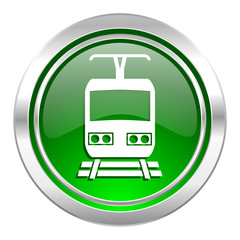 train icon, green button, public transport sign