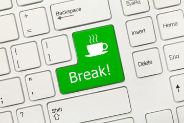 White conceptual keyboard - Break (green key)