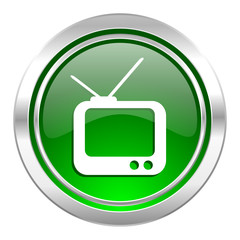 tv icon, green button, television sign
