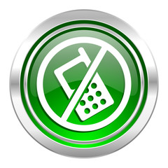 no phone icon, green button, no calls sign