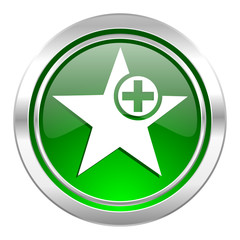 star icon, green button, add favourite sign