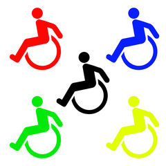 Disabled sign icon. Human on wheelchair symbol
