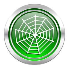 spider web icon, green button