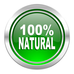 natural icon, green button, 100 percent natural sign