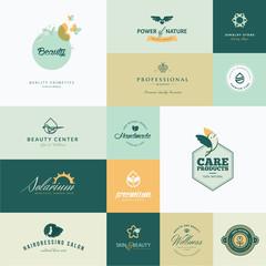 Set of modern flat design beauty icons