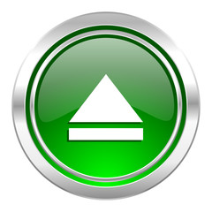 eject icon, green button, open sign