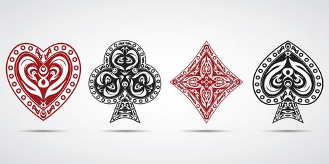 poker cards symbols grey background