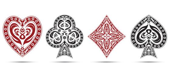 poker cards symbols isolated on white background
