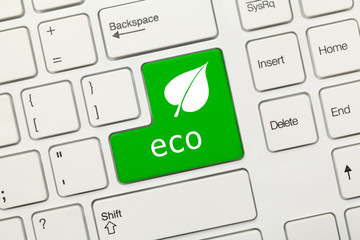 White conceptual keyboard - Eco (green key with leaf icon)