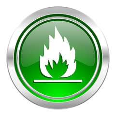 flame icon, green button