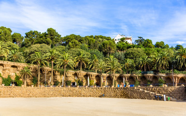 Square of Nature in the Park Guell - Barcelona, Spain