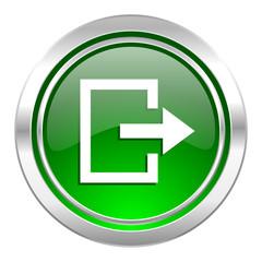 exit icon, green button