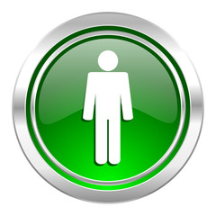 male icon, green button, male gender sign