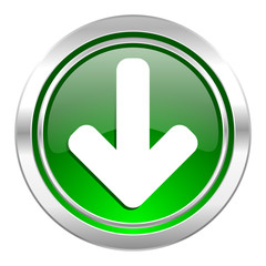 download arrow icon, green button, arrow sign