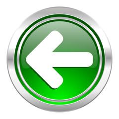 left arrow icon, green button, arrow sign