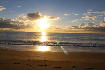 Sea Sunset, Sun and Clouds