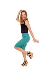 Dancing young woman.