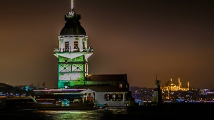 Maiden's Tower timelapse at night in Istanbul Turkey 2014