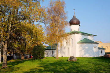 Church of the Assumption in the fall, Pskov, Russia