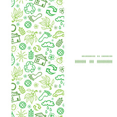 Vector ecology symbols vertical frame seamless pattern
