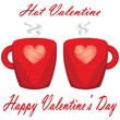 valentine day couple of cups white background Hot Valentine