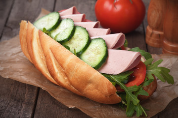 Submarine sandwich with salami