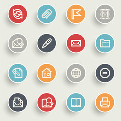 Email contour icons on color buttons.