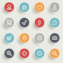 Basic contour icons on color buttons.