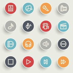 Audio video contour icons on color buttons.