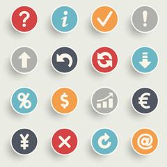 Symbols contour icons on color buttons.
