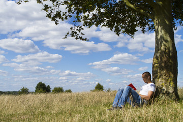 Man reading a book under the shade of a tree
