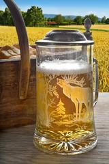 bicchiere di birra sfondo campo orzo