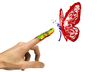 Touch between finger and painted red butterfly